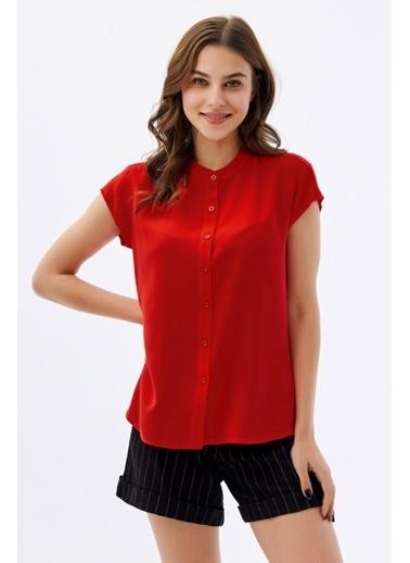 Pattaya Pattaya Kadın Hakim Yaka Kısa Kollu Gömlek P21S110-1173 Kırmızı